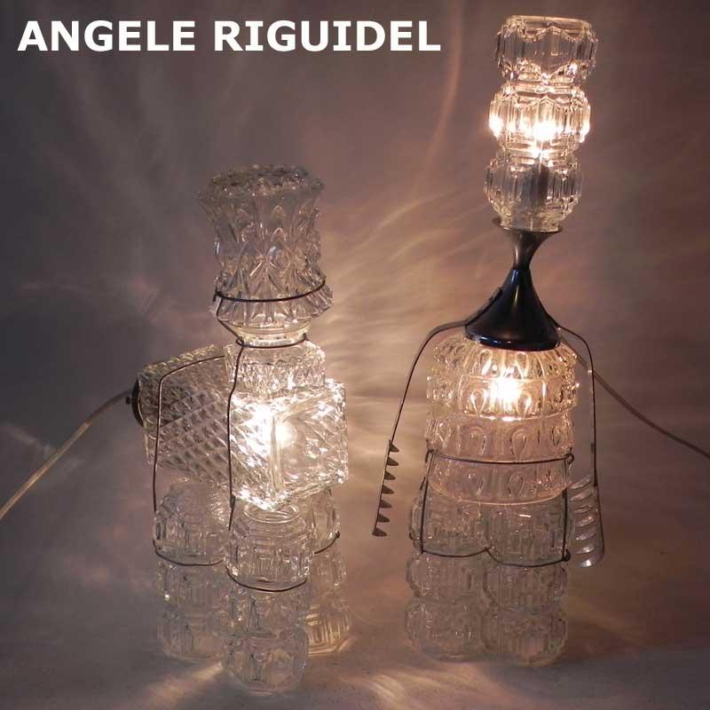 Sculptures avec verreries, lustre, wiski, applique. lampe