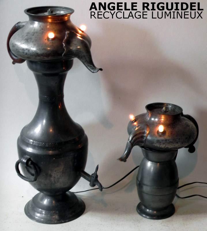 Sculptures personnages à trompe en étain, théière, pots. lampe assemblage