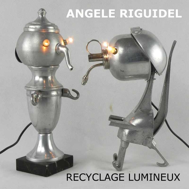 personnages en objets détournés. lampe récup, cuisine aluminium