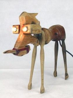 Sculpture Animal à 4 pattes, assemblage d'objets en bois