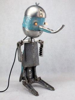 assemblage sculpture aluminium et bleu