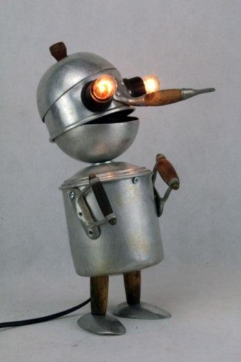 assemblage sculpture gamelles aluminium
