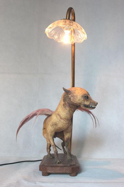 Chihuahua ailé, empaillé et dépoilé, assemblage avec verrerie.