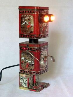 Boites à thé lumineuses robot. Détournement de boites, recyclage d'emballages,