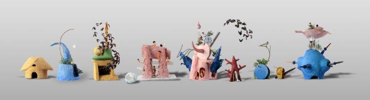 Jardin des plastiques, Construction Boschiennes. Cacher les déchets et se rapprocher d'une réalité picturale.