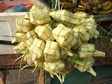 'Tipat Cantok', Balinese Steamed rice made in a woven palm leaf case :)