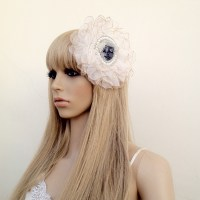Silk Headpiece With A Hand Beaded Polymer Sculpture Center Piece - Wearable Art - Gothic / Lolita Headdress, Photo Shoot Prop
