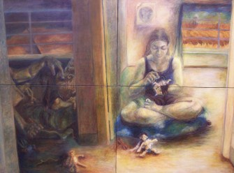 Playing God, oil on canvas, 7' x 5'