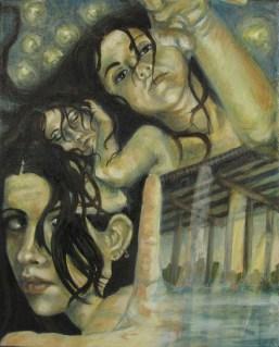 "Self-portrait as Saint John Nepomucene, oil on canvas, 11"" x 14"""