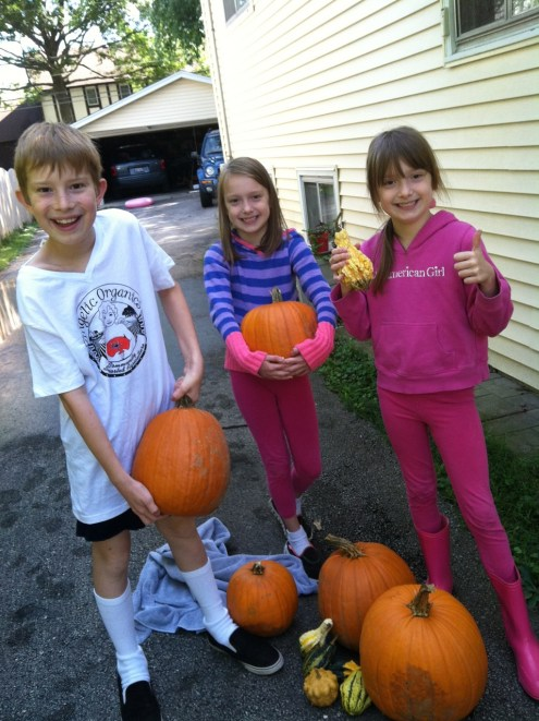 Fall, 2016 at home after the Farm Field Day: Rudolf Steiner scholar Joseph Haas with twin sisters Katherine and Kaitlyn