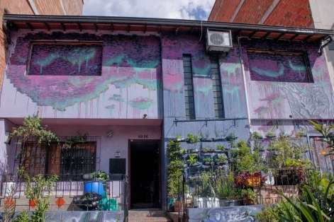 """""""La Casa Morada,"""" a meeting space for activists from Comuna 13, including the agrarian hip hop collective known as AgroArte."""