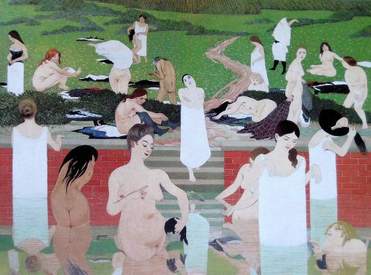 Le bain au soir d'été (The bath summer evening) 1892 / wikipaintings.org: One of Vallotton's first Nabi-style paintings, this was presented in 1892 at Le Salon des Indépendants and was poorly received by the audience who laughed out loud at the unusual female forms. I find this painting rather intriguing and surreal with its mix of styles.