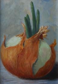 """""""Onion, Week 2"""" 5x7 Acrylic on Panel"""