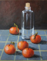 """Glass Jar with Mandarins"" 11x14 Acrylic on Panel"