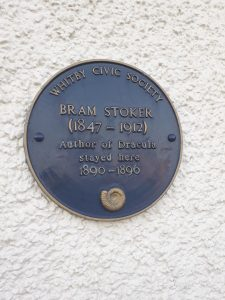 The blue plaque marking Bram Stoker's visit to Whitby