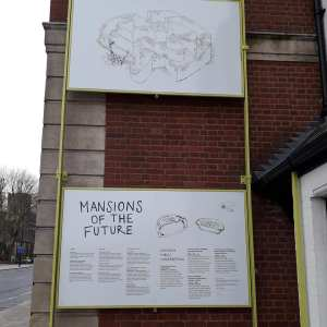 Events sign outside Mansions of the Future