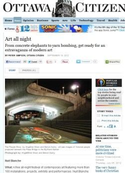 Online version of the an article on the Ottawa Citizen promoting Nuit Blanche 2012. The photo used is from my project with Benoit Aubry, The People Show.
