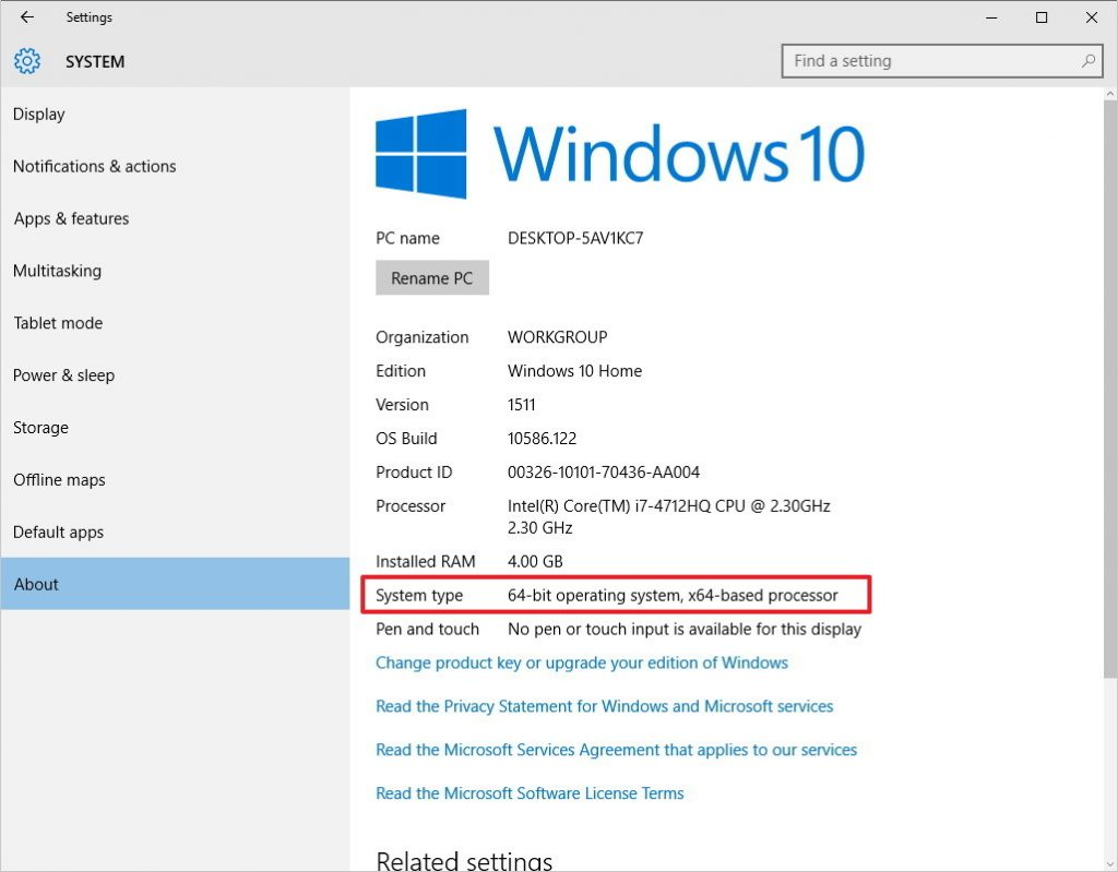 windows 10 pro 64 bit version 1511