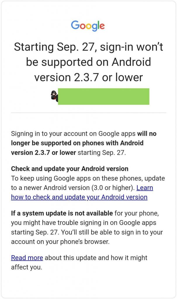 google-ends-sign-in-support-for-old-android-versions-email