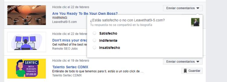 satisfaccion del anuncio de facebook