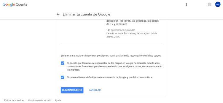 eliminar cuenta google 9 min