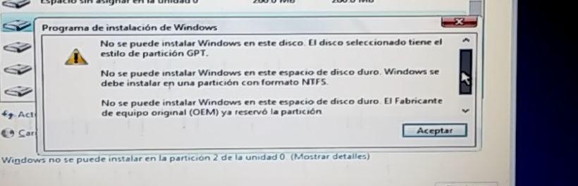error de disco duro al instalar sistema operativo