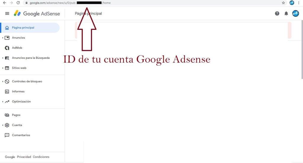 cual es tu id de tu cuenta de google adsense