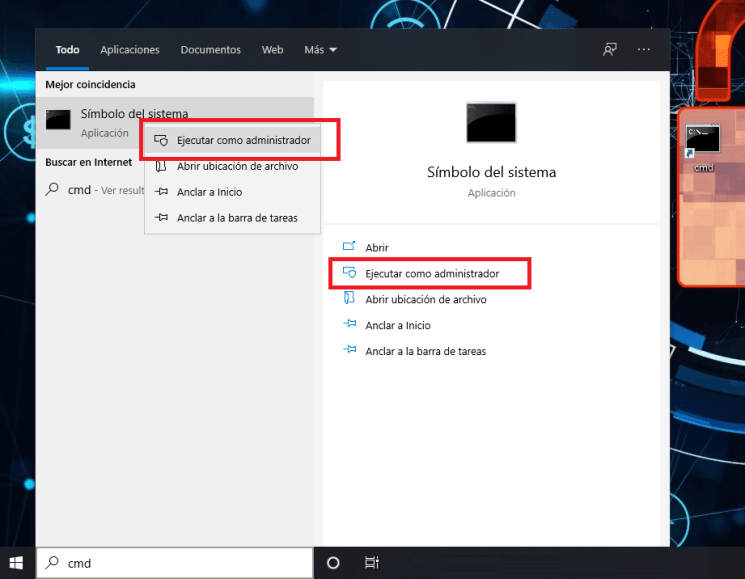 ejecutar como administrador cmd o cualquier programa en windows 10 min