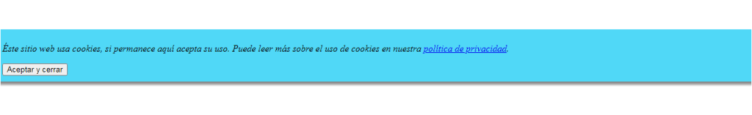 mensaje de política de aceptar cookies en tu sitio web sin plugins ni programas