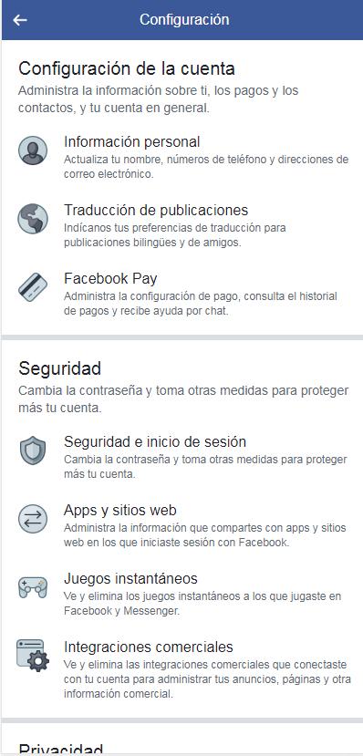 menu facebook pay en tu celular