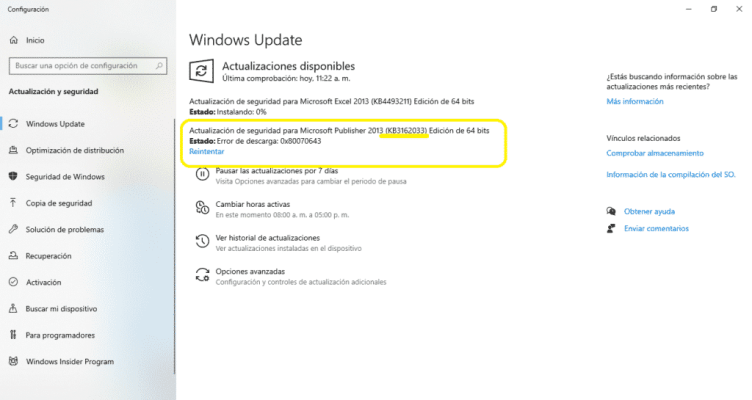 error actualizaciones paquete Windows 10