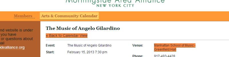 Concerto dedicato alla musica di Angelo Gilardino a New York (MSM)