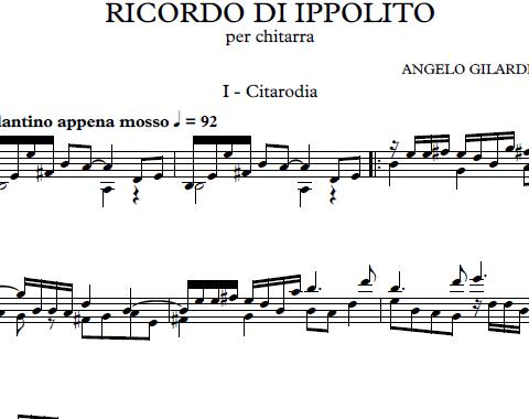 Ricordo di Ippolito, nuova sonata per chitarra sola