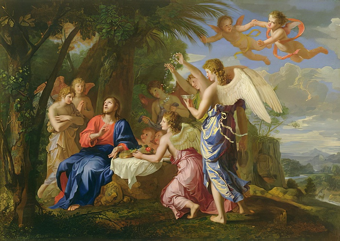 Jacques-Stella-Christ-Served-by-the-Angels