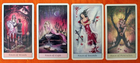 The 4's from the Crystal Visions Tarot