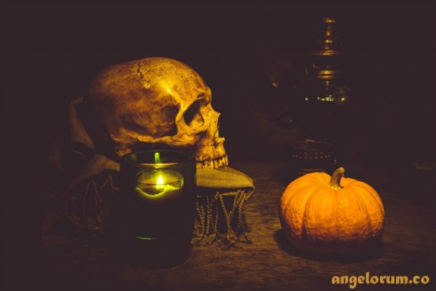halloween skull and pumpkin