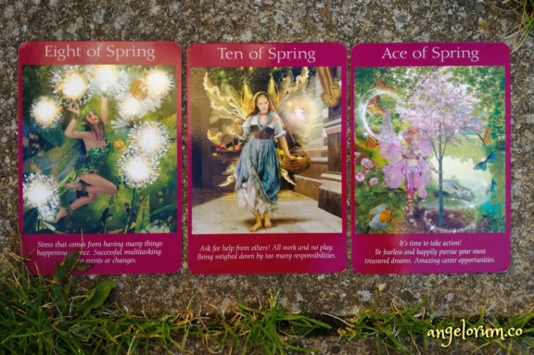 Eight, Ten and Ace of Fire from the Fairy Tarot Cards