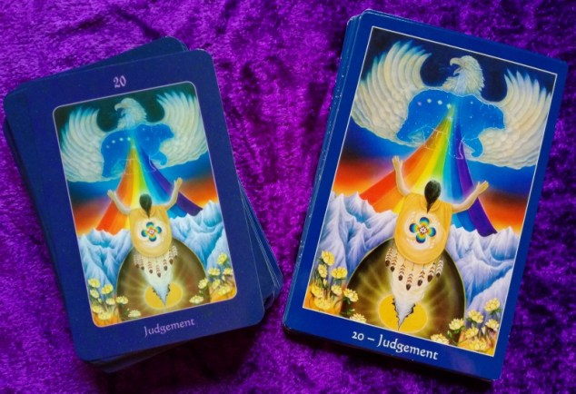 Side by side comparsion of the Judgement card from the full 78-card version of the Star Tarot and the Majors only deck