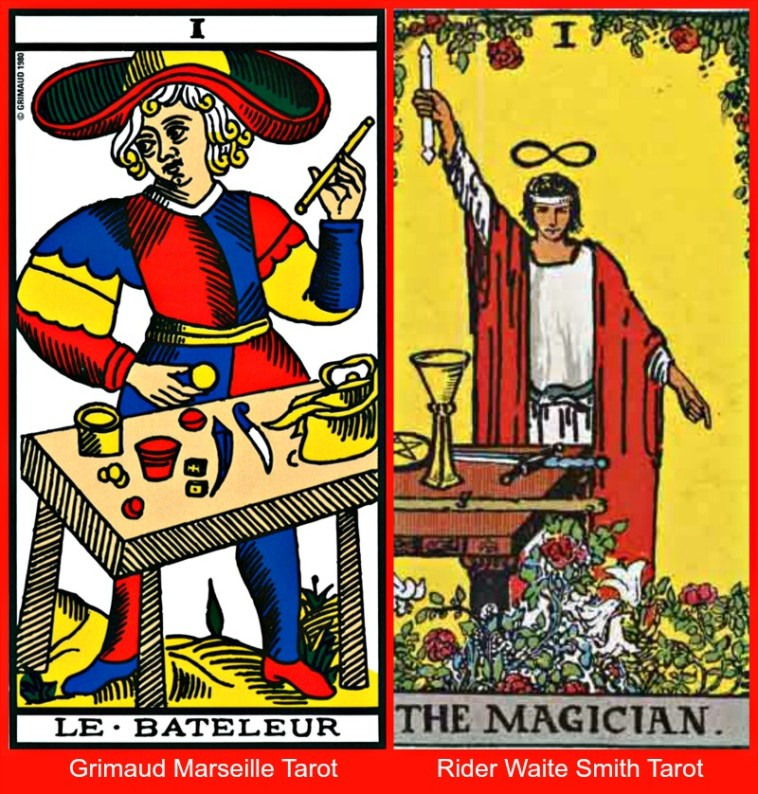 The Tarot Magician Marseille and Waite Smith Tarot Decks