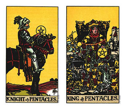 Knight and King of Pentacles Tarot Taurus Full Moon