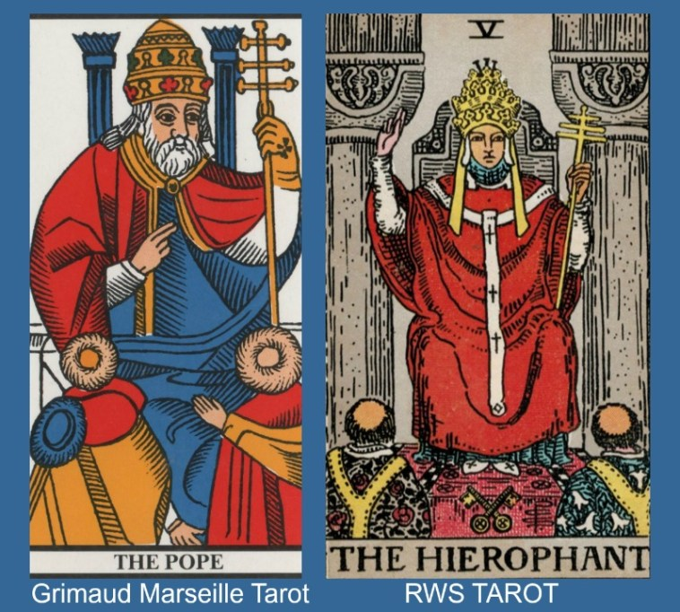 The Hierophant Marseille and RWS Tarot