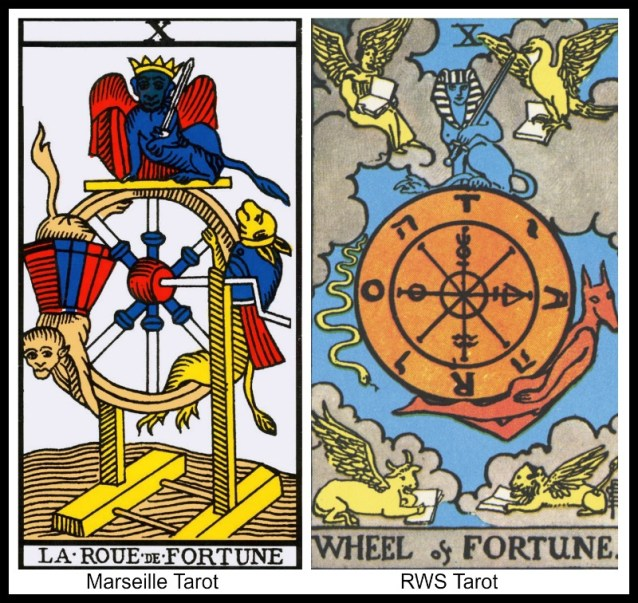 10 The Wheel of Fortune Marseille and RWS Tarot