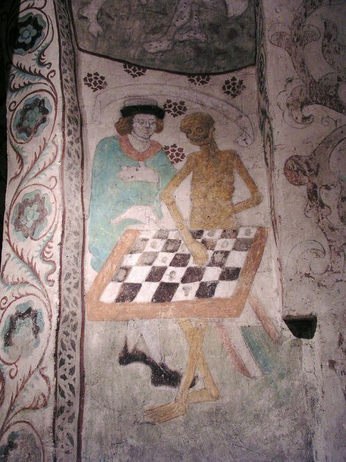 Death Playing Chess by Albertus Pictor Täby Kyrka