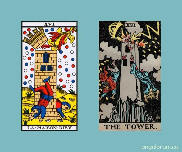 7 Facets of the Tarot Tower Tdm and RWS Tarot