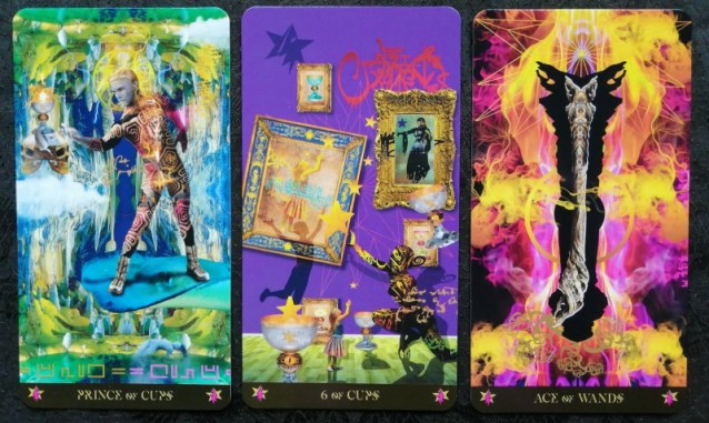 Prince of Cups 6 of Cups Ace of Wands Starman Tarot
