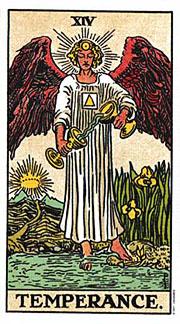 Temperance Tarot card corresponding with Sagittarius