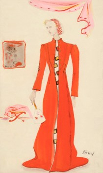 Model in Red Schiaparelli Coat with Mask da/from www.corbis.com