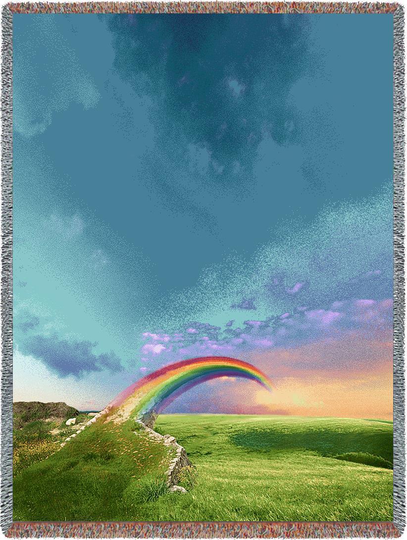 Shop Angel PawPrint-CUSTOM RAINBOW BRIDGE Pet Tribute Blanket Rainbow Bridge