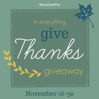 In Everything Give Thanks Giveaway Hop ~ Nov. 16th - Nov. 30th