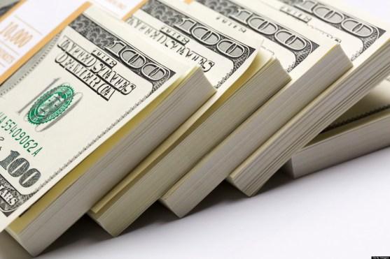 Dollars pack on white background